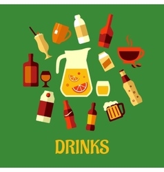 Flat assorted beverages and drinks vector