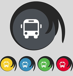 Bus icon sign symbol on five colored buttons vector