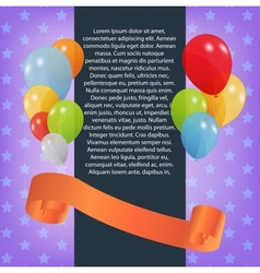 Birthday card with colored balloons vector