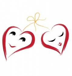 Two smiling hearts vector