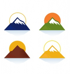 Mountain and tourist icons vector