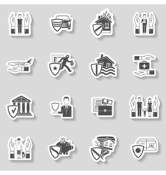 Insurance sticker set vector