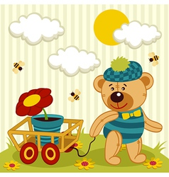 Teddy bear with flower in pot vector
