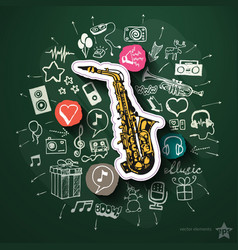 Entertainment and music collage with icons on vector