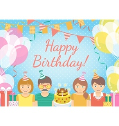 Kids birthday party blue background vector