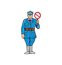 Policeman stop sign standing vector