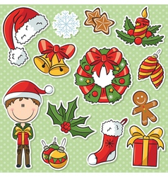 Santa boy with christmas gifts and decorations vector