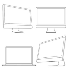 Computer displays and laptop vector