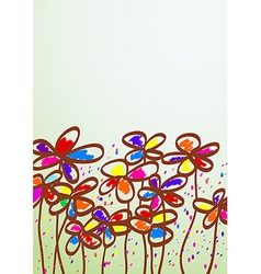 Hand drawn childish flowers vector