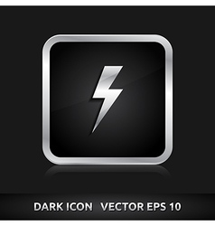 Light bolt flash icon silver metal vector