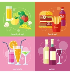 Cocktails health food fast food and vines vector