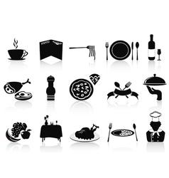 Black restaurant icons set vector