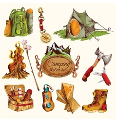 Camping sketch set colored vector
