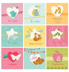 Set of colorful baby cards vector