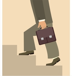 Man with briefcase walking upstairs vector