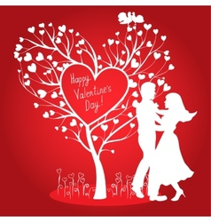 Greating valentines card with dancing couple vector