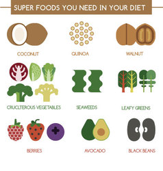 Super foods you need in your diet vector