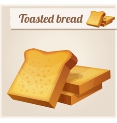 Toasted bread detailed icon vector