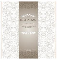 Light beige ornamental invitation card vector