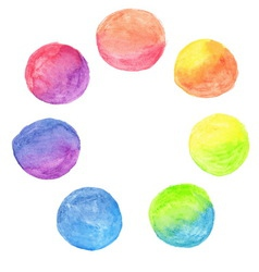 Set of rainbow watercolor circles vector