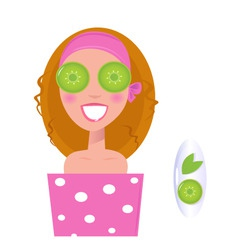 Wellness girl with cucumber vector