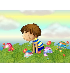 A kid hunting eggs vector