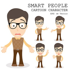 Smart people cartoon character eps 10 vector