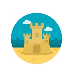 Sand castle flat icon vector