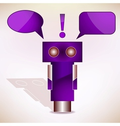 Violet robot with message bubbles vector