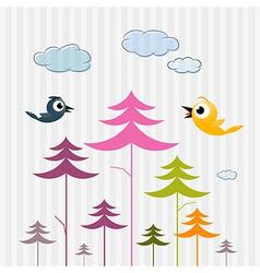 Retro paper trees birds and clouds vector