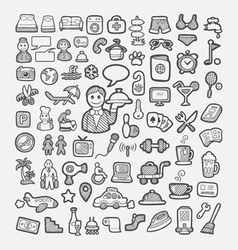 Hotel icons hand drawing sketch style vector