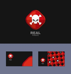 Logo pirate business card for real pirate skull vector