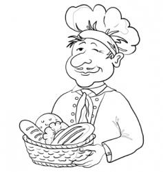 Baker with bread basket contour vector