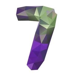Geometric crystal digit 7 vector
