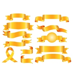 The collection yellow ribbons banners vector