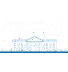 Outline white house washington dc vector