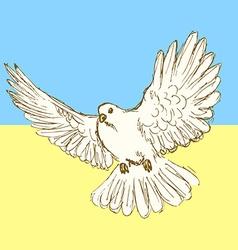 Sketch peace dove for ukrainian war vector