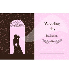 Wedding card - bride and groom silhouette vector
