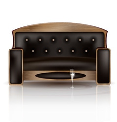Wooden sofa and glass of vine vector