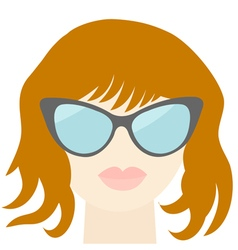 Fashion red woman face sexy nude lips sunglasses vector