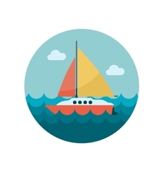 Boat with a sail flat icon vector