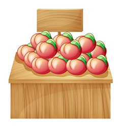 A fruit above a wooden table with a wooden vector