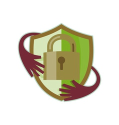 Padlock with shield and hands reaching in vector