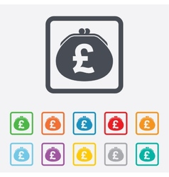 Wallet pound sign icon cash bag symbol vector