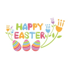 Concept happy easter with flowers and eggs vector