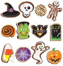 Cute halloween cookies clipart vector