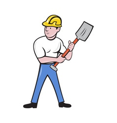 Construction worker with shovel spade vector