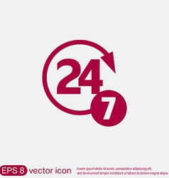 Character 24 7 open 24 hours a day and 7 days a vector