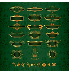 Golden ornate decor elements vector
