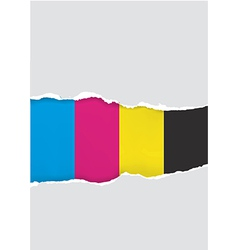 Ripped cmyk colors paper vector